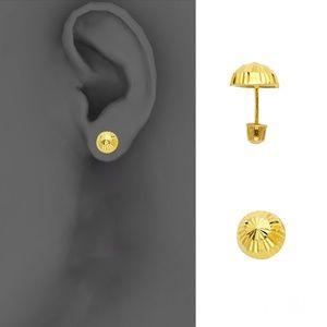 14k Yellow 7.5mm Half Ball Stud Earrings - Screw